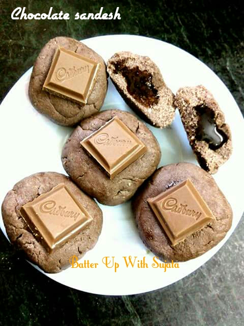 Chocolate Stuffed Chocolate Sandesh