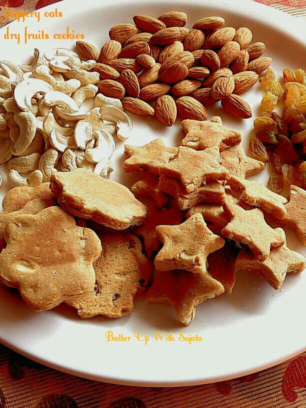 Khajur Gur Or Date Palm Jaggery Oats Dry Fruits Cookies