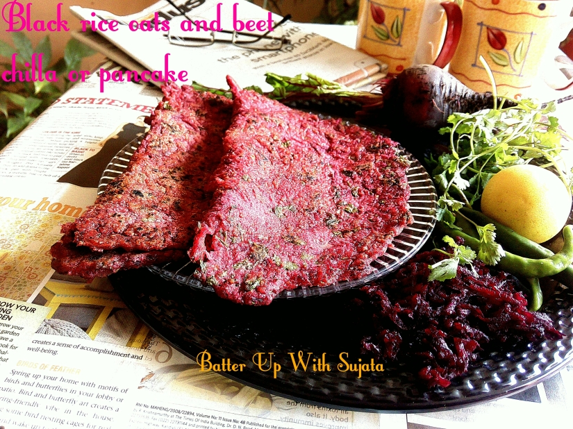 Black Rice, Oats And Beetroot Chilla Or Pancake