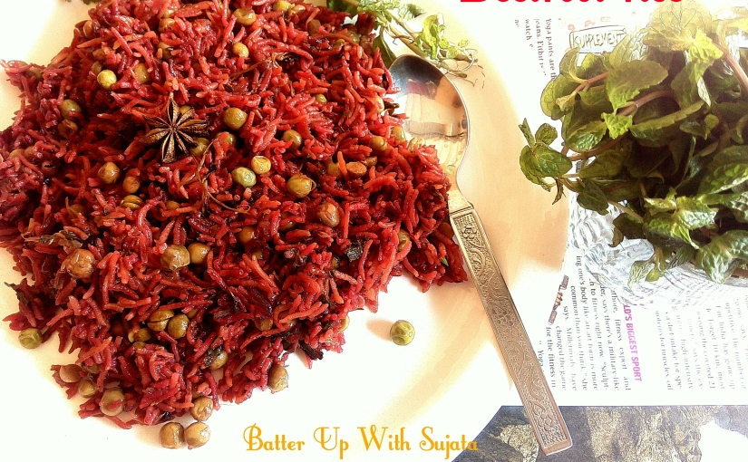 Beetroot Rice Or Pulao And Raita