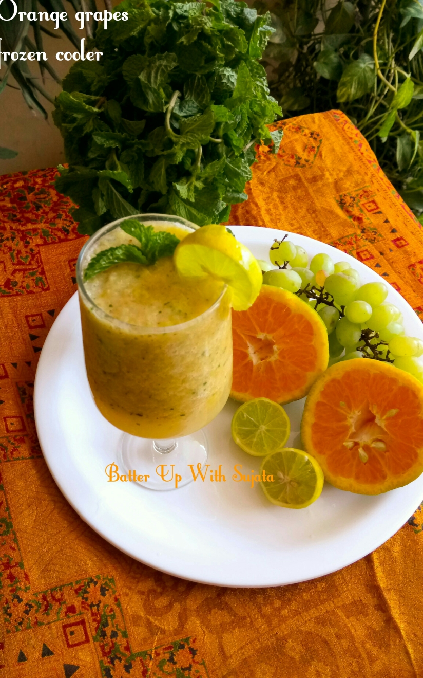 Orange Grapes Frozen Cooler With Lemon And Mint