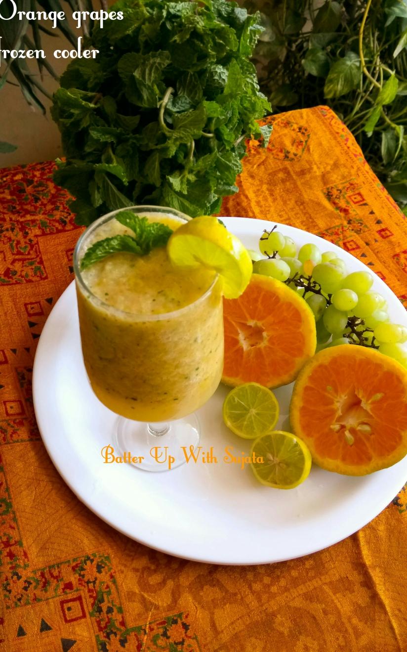 Orange Grapes Frozen Cooler With Lemon And Mint