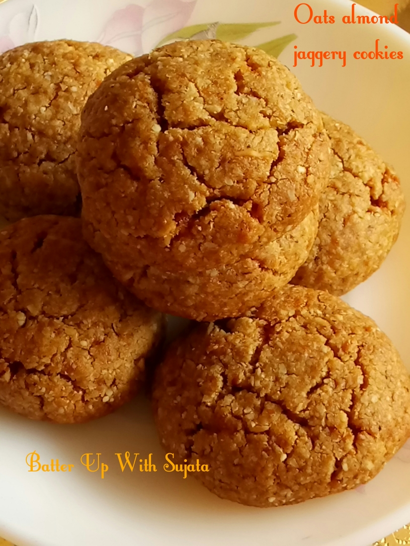 Oats Almond Honey Jaggery Cookies / No Butter No Sugar Cookies