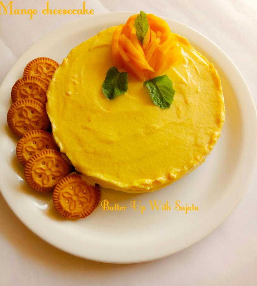 Eggless No Bake No Gelatin No Butter Mango Cheesecake
