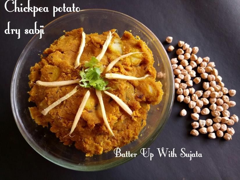 Chickpea Potato Dry Sabji Or Curry/ Guest Post For Avin SKohli