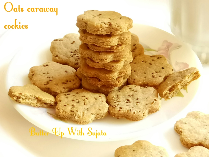 Oats Wholewheat Caraway Cookies / Eggless Savoury Cookies