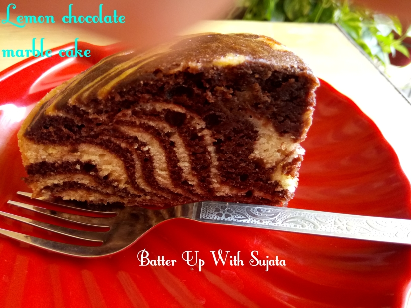 Eggless Lemon Chocolate Marble Cake