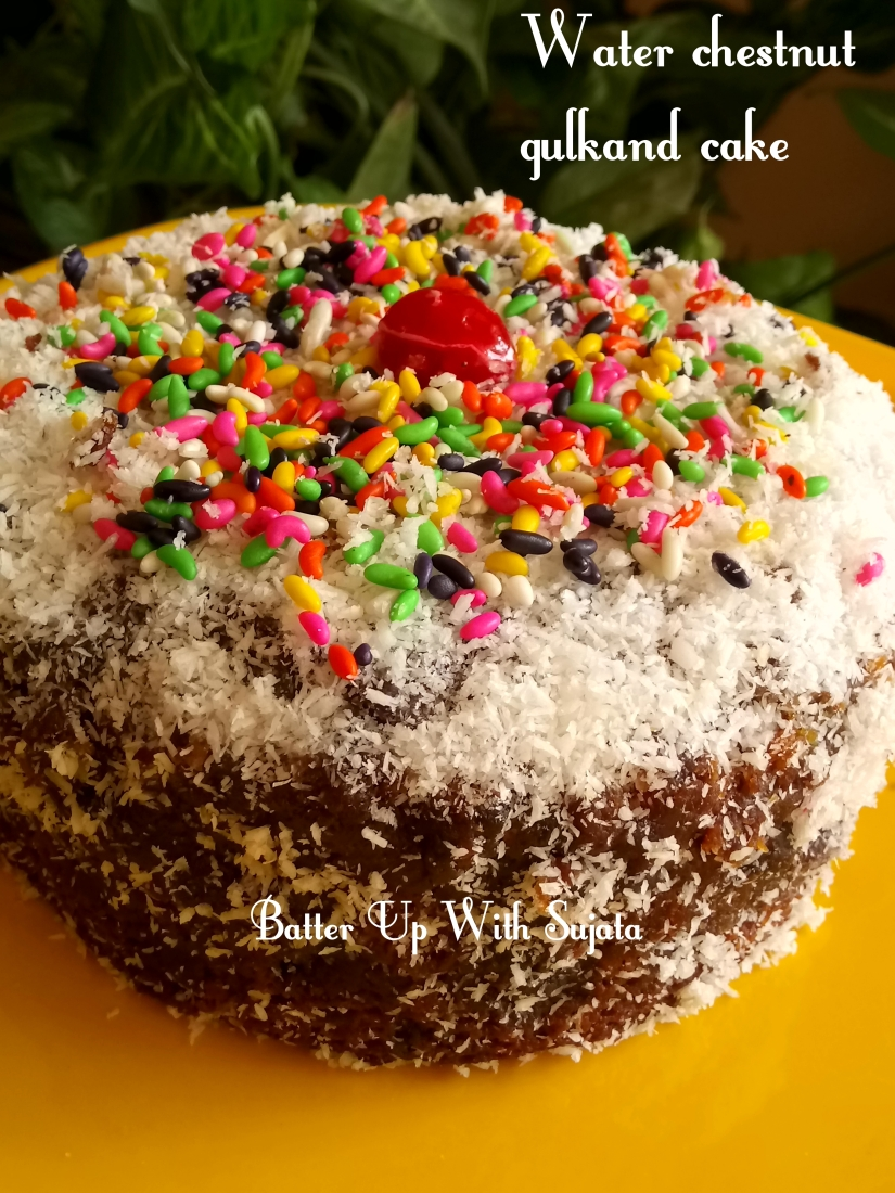 Gluten Free Dairy Free Lemon Glazed Water Chestnut Gulkand Cake