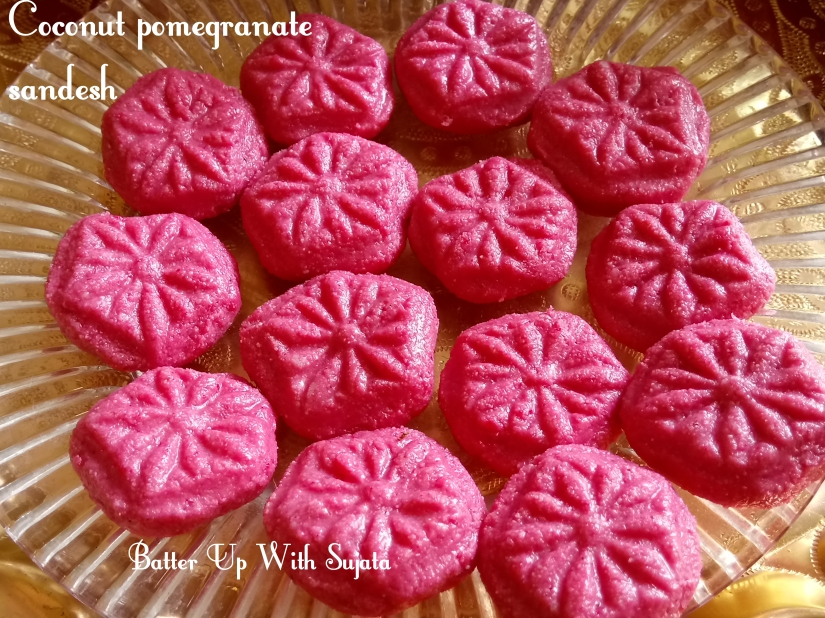 Coconut Pomegranate Sandesh Or Narkol Bedana Sondesh