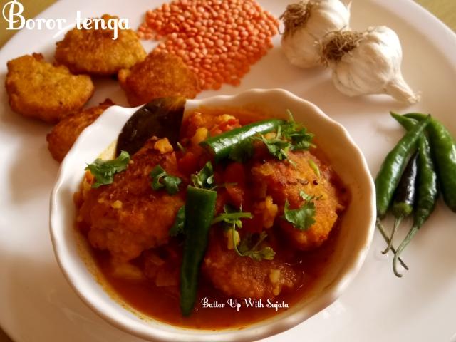 Assamese Massor Dal Boror Tenga Or Red Lentil Fritters In Sour Gravy