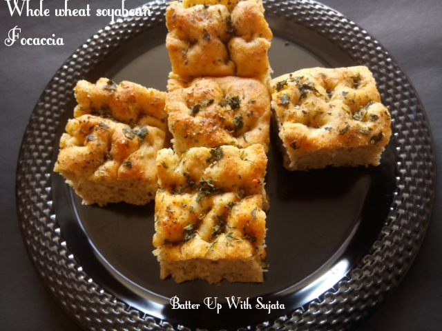 Focaccia With Whole Wheat And Soyabean Flour