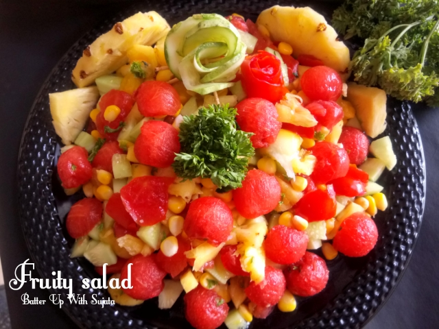 Fruity Salad With Corn Cucumber And Parsley