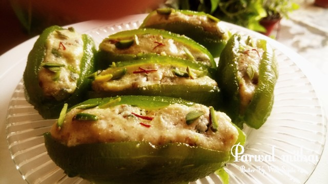 Cottage Cheese Or Paneer Stuffed Parwal Mithai Or Pointed Gourd Sweet