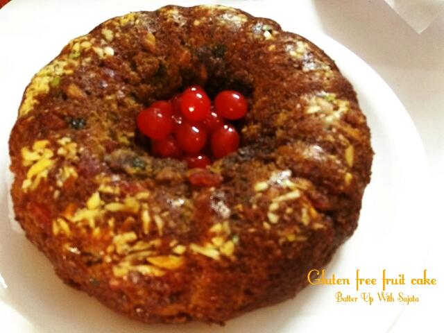 Eggless Gluten Free Fruit Cake / Dairy FreeCake
