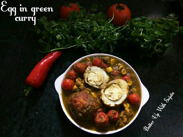 Egg In Green Curry Or Chutney Curry