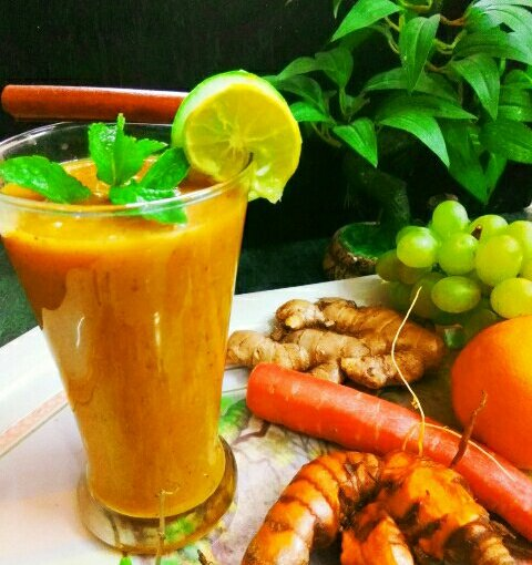 Vegan Fruity Golden Smoothie With Turmeric And Aloe Vera