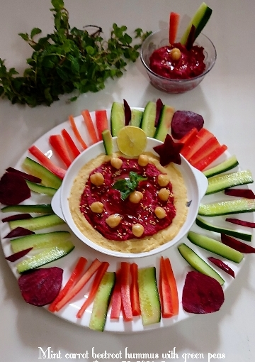 Mint Carrot Beetroot Hummus With GreenPeas