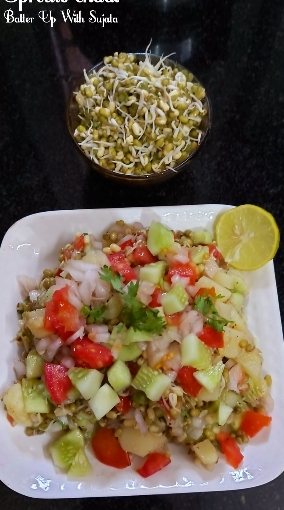Sprouts Chaat And Aloo Or Potato Chaat With Sweet Corn
