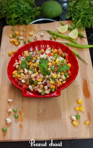 Peanut Chaat With Corn Green Peas And RawMango