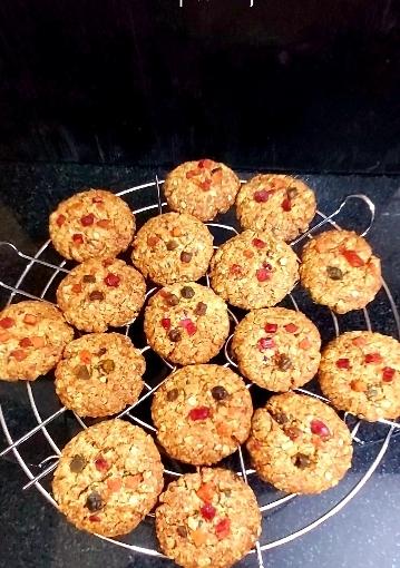 Oats Tutti Frutti Cookies / Gluten Free Cookies / JaggeryCookies