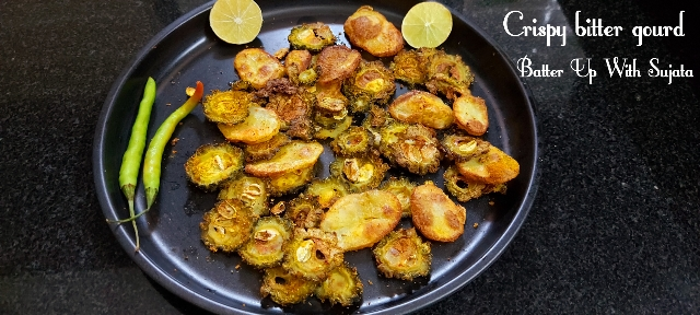 Crispy Bitter Gourd And Potato Or Aloo Karela / Less Oil Recipe