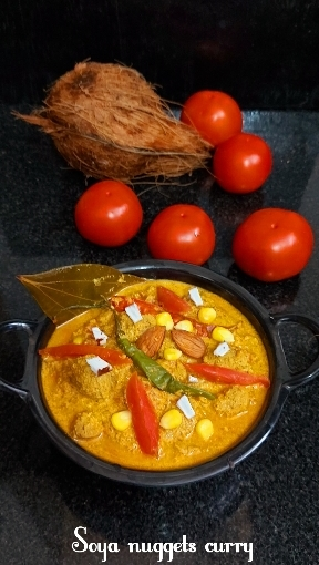 Soya Nuggets Curry With Poppy Seeds, Coconut And SweetCorn