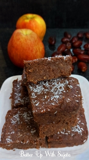 Quinoa Oats Apple Brownie / Eggless Gluten Free And Sugar FreeBrownie