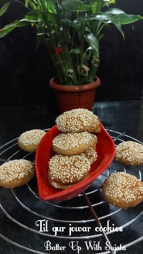 Til Gur Jowar Cookies/Sesame Jaggery Sorghum Cookies/Gluten FreeCookies