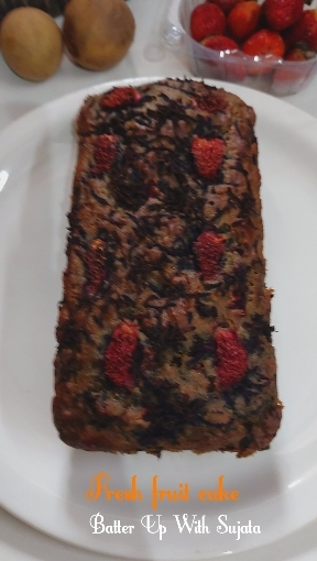 Eggless Fresh Fruit Cake With Black Carrot